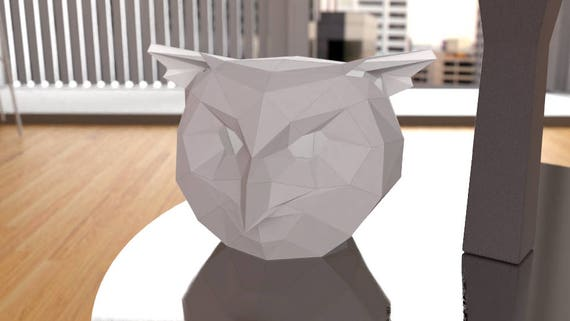 The Owl Low Poly Papercraft Mask Download Print and Make