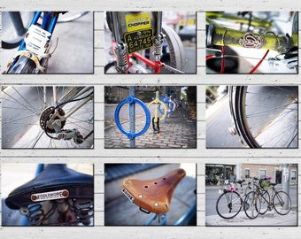 Gifts for Cyclists Toronto Bicycle Postcards - Set of 9 Fine Art Postcards, Bike Art, Bicycle Print, Cycling Art - Made in Canada