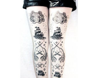 Pirate Printed Tattoo Tights All Sizes Black on White Small Medium Large Extra Plus Size Narwhal Octopus Nautical Sailor Lolita