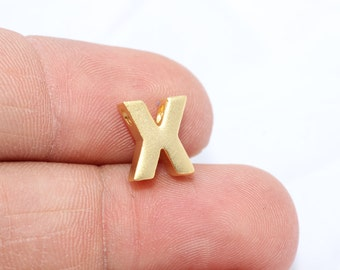 Initial Tiny Charm, Alphabet, Letter, 8x10mm , Upper Case , Gold Plated Letter , Letter X