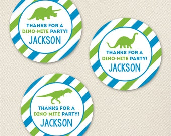 Dinosaur Party - Custom Favor Stickers - Sheet of 12 or 24