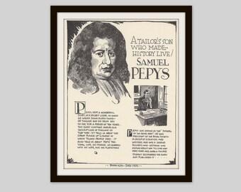 Samuel Pepys, Vintage Art Print, Classroom Art, Educational Art, English Restoration, Teacher Gift, Diary, British History, Librarian Gift