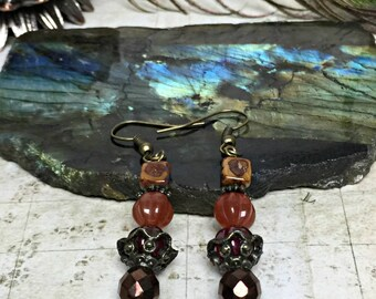 Steampunk Earrings - Carnelian Jewelry, Victorian Gifts, Steampunk Jewelry, Womens Earrings, Boho Jewelry, Natural Colors, Red Balls