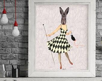 Rabbit Black White Print Dress - rabbit print funny artwork nursery decor Cool kid gift Dining Room decor dorm room decor leaving gift woman