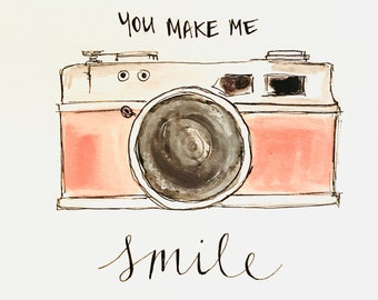 You make me SMILE illustration, printed on archival quality paper, Measures 8x10 inches