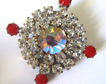 Large Vintage Czech Rhinestone Button, Clear, Aurora Borealis and Red Opaque Stones