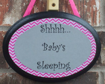 Baby Sleeping Sign, Pink and Gray Chevron