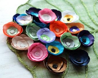 Satin fabric flowers, silk flower appliques, small satin roses, wedding flowers, bulk flowers, flower embellishment (20pcs)- GRAB BAG 399