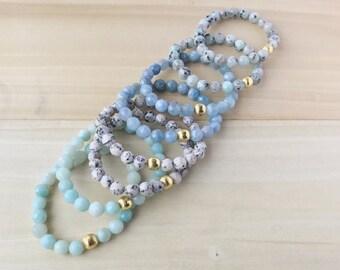 Ocean Blues Stacking Bracelets, Dainty Beaded Bracelet, Dainty Stacking Bracelet, Blue Gemstone Bracelet