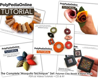 Polymer Clay Tutorial, DIY Kit, Jewelry Tutorial, Fimo Jewelry, DIY Handmade Bead, Brooch tutorial, Bracelet, Necklace, Polymer Flower