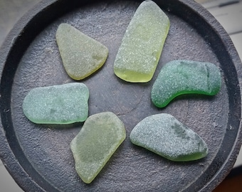 Moss and Sage GREEN Genuine Flawless Sea-Tumbled Sea Glass Jewelry Grade Loose (6)