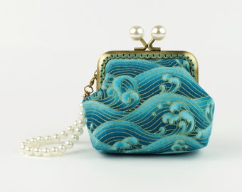 Handmade gold embossed sea green crashing waves Japanese coin purse, bronze kiss lock frame and faux pearl beads - collectable #0130