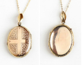 Sale - Antique Cross Locket - 14k Rosy Yellow Gold Clear Photo Necklace - Vintage Victorian Early 1900s Large Oval Pendant Fob Fine Jewelry