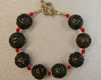 Vintage Chinese BLACK Cinnabar Bead 1970s Bracelet, Vintage Red Crystal, Gold Toggle Clasp - GIFT WRAPPED