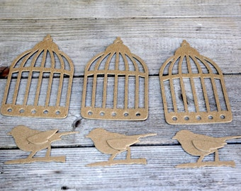Bird Cage and Birds Chipboard Die Cut Set
