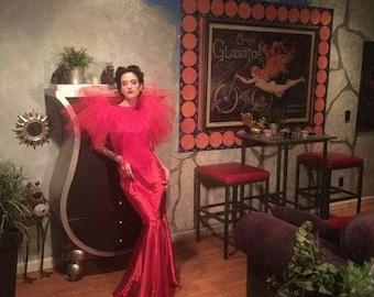 Old Hollywood Dress/Red Dress/Red Carpet Dress/Gala Dress/Party Dress/Classy Dress/Unique Dress/Couture Dress/Maxi Dress