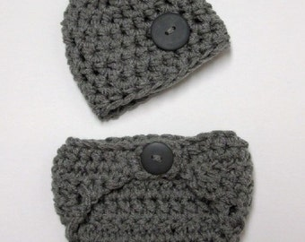 Little Man Diaper Cover and Hat Set Grey
