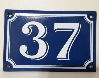 Vintage French enamel HOUSE NUMBER SIGN 37 Blue and white