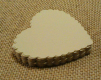 """GIFT TAGS Printed one side 2.75"""" 25pcs. IVORY. gift tags, scalloped hearts/23sweets/die cut/wedding/party/gift/hang tags/scrap booking/paper"""
