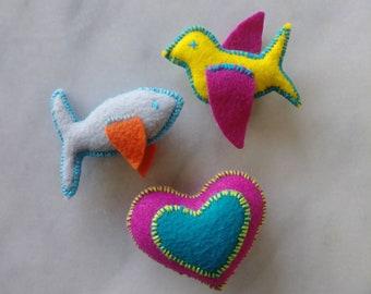 Felt Catnip Toy, Three Pack, Organic Catnip, Handsewn, Handmade, Bird, Fish, Heart, Cat Toy, Catnip Toys for Cats