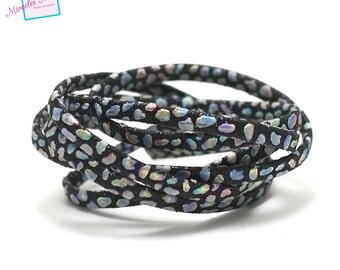 "1 m strap leather 5 x 2 mm, doubled ""Opal"", black"