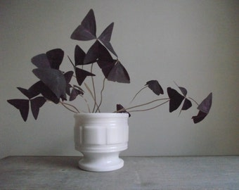 Milk Glass Pedestal Planter Pot | Vintage Art Deco Style Pot | Modern Decor | White Wedding Decor