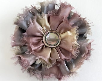 Silk Satin Flower Brooch Frayed Edge Gray Hand Dyed Ribbon with Antique Abalone Shell Button
