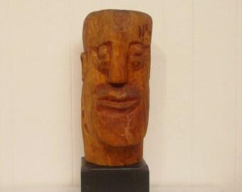 Large, Vintage sculpture, wood sculpture, head sculpture, folk art, modern decor