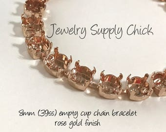 39ss Empty cup chain bracelet - rose gold 8.5mm