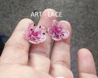 Sakura earrings Bridal Sakura jewelry set Chinese Japanese earrings flower stud earrings Pink resin flower earring dainty floral post Spring