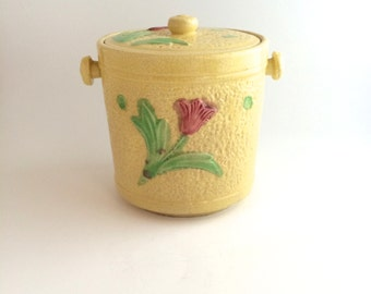 Biscuit Jar in Pale Yellow and Bright Flowers - Made in Japan