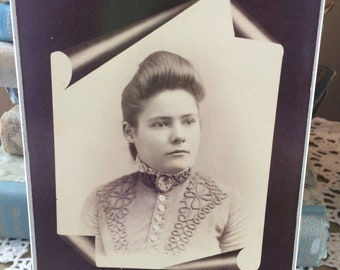 Old Cabinet Card Victorian Girl with embroidered dress and Brooch Clearfield Iowa 1800's Sepia Photograph