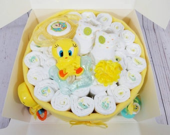 Tweety Bird inspired Diaper Cake| Diaper Cakes| Baby Gifts| Little Birdy Baby Gifts| Tweety Bird Baby Gifts| Girl's  Baby Gifts| Baby Girl