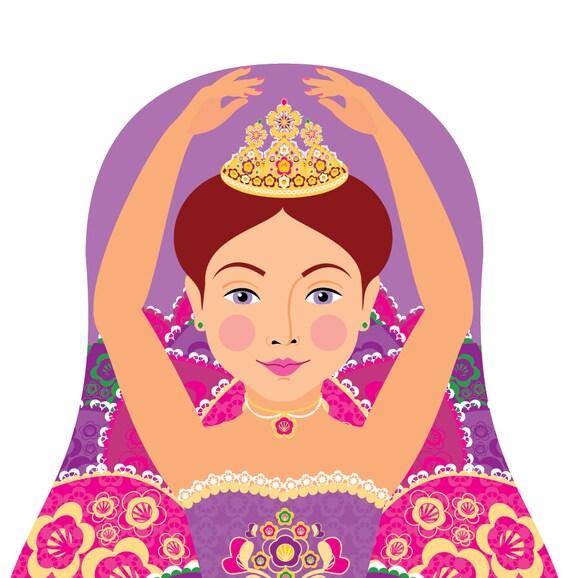 Sugar Plum Fairy Doll Art Print with traditional dress matryoshka