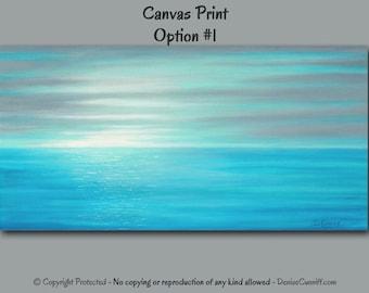Beach decor canvas art, Gray Teal home decor, Sunset, Seascape painting - Giclee print, Large abstract Wide, Coastal wall art, Office, Ocean