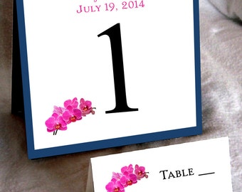 25 Pink Orchids Table Numbers and 250 place settings
