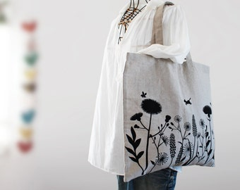 Square Linen Bag Cats and Flowers