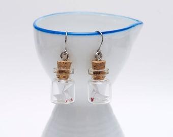 Origami heavy rain in tiny glass bottle earrings