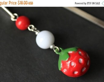 MOTHERS DAY SALE Strawberry Bookmark. Beaded Bookmark. Strawberry Bell Book Charm. Book Hook Bookmark. Handmade Bookmark.