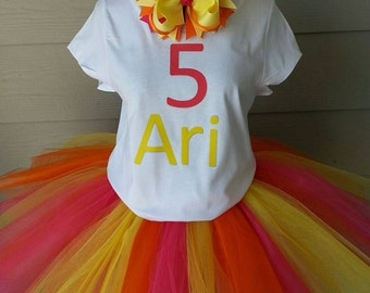 Pink birthday tutu outfit, Birthday, Tutu, girls Outfit, Birthday outfit, multi colored tutu