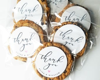 Thank You Wedding Cookie Favor Bags - Calligraphy Script Font, Pink Heart, Custom Favor Bags, Bridal Shower
