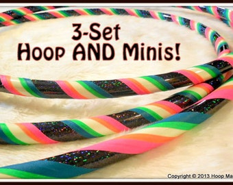 Rainbow GaLaXy Mantra GLOW 3-Set! - GLoW In The DARK Hula Hoop AND Mini Twins 3-Set.  Best Selling 3 Pack in Any Tubings!