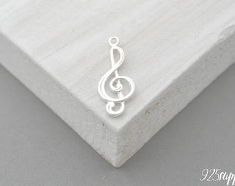 925 Sterling Silver treble clef, treble clef Pendant, treble clef Charm, Silver treble clef, Small treble clef, jewelery making, key