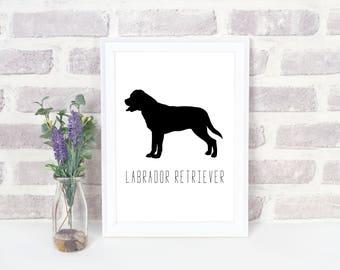INSTANT DOWNLOAD-Labrador Retriever silhouette  PRINTABLE-Home decor-Dog art