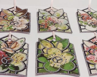 6 Floral Stained Glass Tags