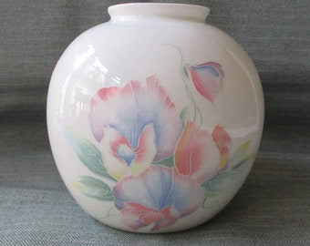"4.75"" Aynsley LITTLE SWEETHEART Round Ball Vase, Pastel Pink & Blue Flowers (c. 1980s)"