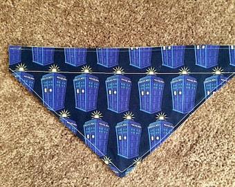 Doctor Who Tardis Dog Bandana - Over the Collar - Dr Who - Tardis Police Box