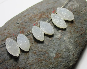 Natural white Druzy marquise briolette- 1 Pair