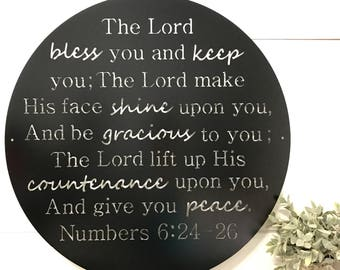 "30"" round metal sign- The Lord bless you ... Numbers 6:24-26"
