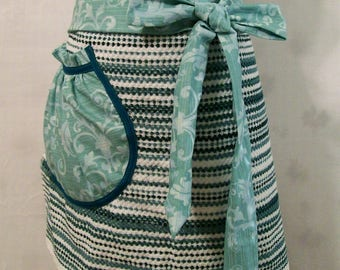 Woman's Turquoise Stripe Half Apron, Towel Half Apron, Kitchen Apron, Handmade, Gift for Mom, Cooking Serving Apron, Made in the USA, #24A